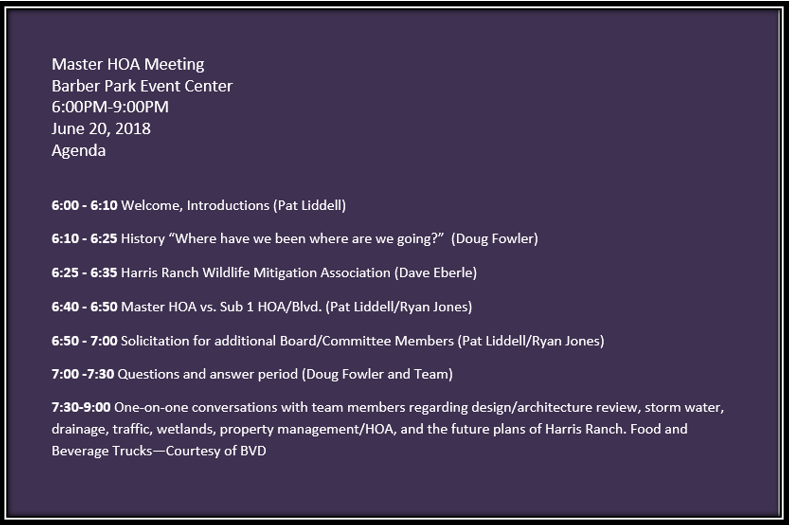 Master HOA Meeting Agenda